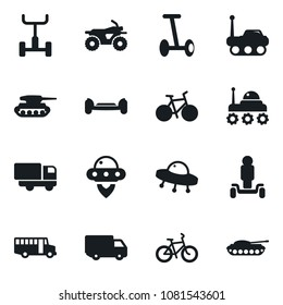 Set of simple vector isolated icons truck vector, school bus, atv, bike, space rover, ufo, hoverboard, army tank