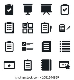 Set of simple vector isolated icons notebook vector, presentation board, clipboard, exam, check, playlist, favorites