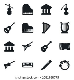 Set of simple vector isolated icons piano vector, guitar, bank, harp, flute, accordion, viola, tambourine