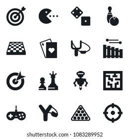 Set of simple vector isolated icons playing cards vector, dice, chess board, queen and pawn, bowling, billiards, slingshot, pc game, gamepad, maze, robot, target, xylophone, aim
