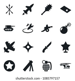 Set of simple vector isolated icons bomb vector, air, grenade, arrows, truncheon, shuriken, knife, star, chevron, army mortar, artillery, cruise missile, plane, tank, helicopter