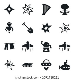 Set of simple vector isolated icons drying clothes vector, job, ufo, jetpack, bang, robot, harp, shuriken, army tank, submarine