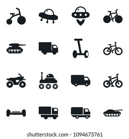 Set of simple vector isolated icons truck vector, atv, bike, space rover, ufo, hoverboard, army tank