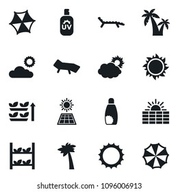 Set of simple vector isolated icons sun panel vector, vertical farm, lounger, cloud, sunscreen, palm, parasol