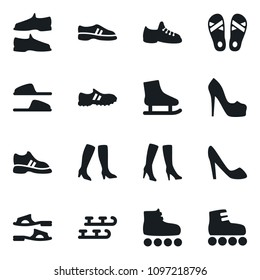 Set of simple vector isolated icons slippers vector, flip flops, man shoes, woman, high heeled boots, snickers, skates, roller