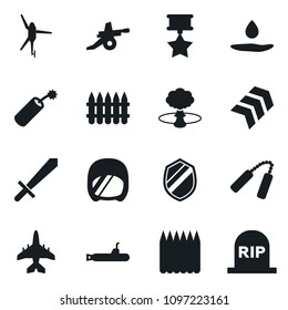 Set of simple vector isolated icons dynamit vector, nuclear explosion, shield, sword, pool of blood, nunchuck, spike fence, chevron, medal, artillery, army helmet, plane, submarine, helicopter
