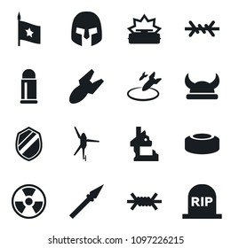 Set of simple vector isolated icons air bomb vector, ruin, nuclear sign, mine, rome helmet, shield, viking, spear, barbed wire, flag, bullet, army helicopter, grave
