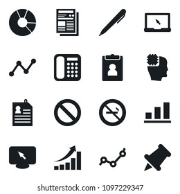 Set of simple vector isolated icons circle chart vector, pen, notebook pc, personal information, prohibition sign, no smoking, phone, head chip, growth graph, point, news, monitor, drawing pin