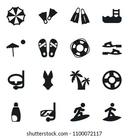 Set of simple vector isolated icons flip flops vector, beach, flippers, pool, sunscreen, palm, swimsuit, parasol, diving mask, Lifebuoy, surfing
