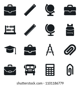 Set of simple vector isolated icons case vector, graduate hat, ruler, drawing compass, backpack, school bus, abacus, globe, calculator, attachment