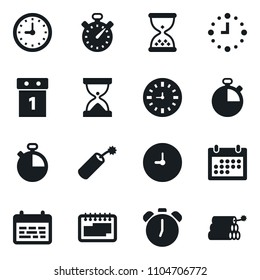 Set of simple vector isolated icons calendar vector, stopwatch, alarm clock, schedule, sand, dynamit