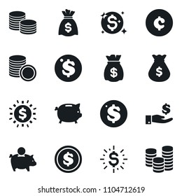 Set of simple vector isolated icons money bag vector, piggy bank, dollar coin, investment, stack, cent sign, shine