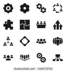 Set of simple vector isolated icons company vector, meeting, growth arrow, puzzle, staff, gears, team, gear, hierarchy