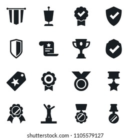 Set of simple vector isolated icons pedestal vector, pennant, medal, protect, star label, certificate, award cup, shield