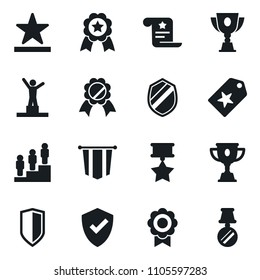 Set of simple vector isolated icons pedestal vector, pennant, medal, protect, star label, award cup, certificate, shield