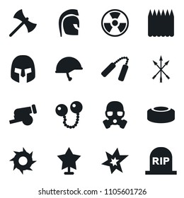Set of simple vector isolated icons bang vector, nuclear sign, mine, rome helmet, arrows, axe, shuriken, gun, cannonballs, nunchuck, spike fence, gas mask, star, army, grave