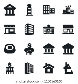 Set of simple vector isolated icons office building vector, university, school, bank, stadium, shop, home, hotel, lighthouse, ruin