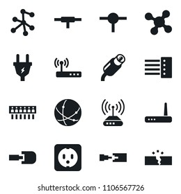 Set of simple vector isolated icons power plug vector, multi socket, router, rca, connect, connection, network, hub, disconnection