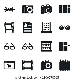 Set of simple vector isolated icons shining window vector, abacus, site, glasses, film frame, photo camera, personal information, sunglasses, barbed wire, spike fence