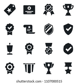 Set of simple vector isolated icons pennant vector, medal, protect, star label, certificate, award cup, shield