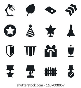 Set of simple vector isolated icons pennant vector, bell, table lamp, leaf, party hat, gift, shield, spike fence, star, chevron, medal