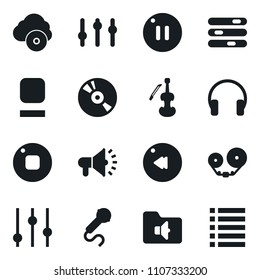 Set of simple vector isolated icons settings vector, cd, microphone, loudspeaker, tape cassette, equalizer, viola, stop button, pause, rewind, headphones, music folder, cloud, playlist