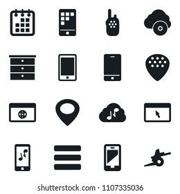 Set of simple vector isolated icons chest of drawers vector, calendar, mobile app, music, cloud, guitar pick, browser, menu, walkie talkie, artillery