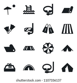 Set of simple vector isolated icons diving vector, pool, tent, fitness mat, beach, flippers, parasol, mask