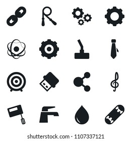 Set of simple vector isolated icons water tap vector, drop, gear, tie, chain, jump rope, target, mixer, vacuum cleaner, usb, atom, gears, treble clef, share, skateboard
