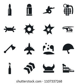 Set of simple vector isolated icons bang vector, grenade, viking helmet, axe, shuriken, pool of blood, barbed wire, chevron, artillery, army, plane, bullet, molotov cocktail, helicopter, ruin