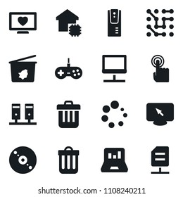 Set of simple vector isolated icons trash bin vector, cd, laptop graph, heart monitor, gamepad, touch, circuit, smart house, server, notebook network, loading, document