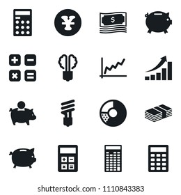 Set of simple vector isolated icons circle chart vector, money, piggy bank, calculator, graph, yen sign, economy bulb, growth