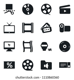 Set of simple vector isolated icons coupone vector, film roll, frame, clap, tv, video camera, vr glasses, monitor, cd, music folder, ticket
