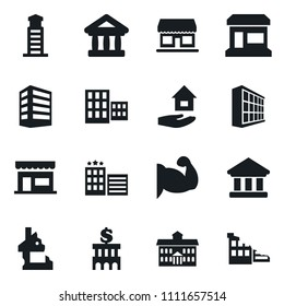 Set of simple vector isolated icons house hold vector, office building, store, university, school, bank, muscule hand, shop, hotel, lighthouse, ruin