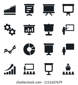 Set of simple vector isolated icons presentation board vector, growth graph, blackboard, point, circle, gears, lecture