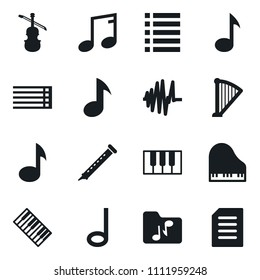 Set of simple vector isolated icons music vector, note, musical staff, piano keys, harp, flute, sound graph, viola, folder, playlist