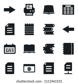Set of simple vector isolated icons book vector, notebook, document, printer, schedule, books, browser, arrow, network