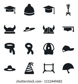 Set of simple vector isolated icons clothes rack vector, scarf, hat, woman, sport, cap, graduate, party, viking helmet, army