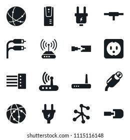 Set of simple vector isolated icons power plug vector, multi socket, router, rca, connect, connection, network, server, hub