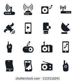 Set of simple vector isolated icons satellite antenna vector, router, radio, flexible phone, portable speaker, mobile music, usb modem, walkie talkie
