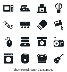 Set of simple vector isolated icons iron vector, washer, mixer, multi cooker, microwave oven, epilator, kitchen scales, air conditioner, double boiler, mouse, usb, socket, radio, fireplace, guitar
