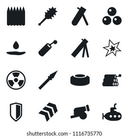 Set of simple vector isolated icons dynamit vector, bang, nuclear sign, mine, shield, truncheon, spear, pool of blood, gun, cannonballs, spike fence, chevron, army mortar, submarine