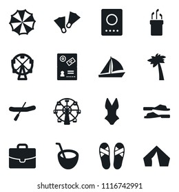 Set of simple vector isolated icons yacht vector, ferris wheel, rubber boat, golf, case, coconut cocktail, flippers, palm, flip flops, swimsuit, parasol, passport, tent