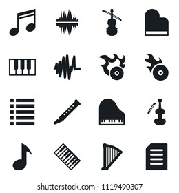 Set of simple vector isolated icons music vector, piano keys, harp, flute, sound graph, viola, hit, playlist