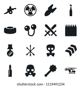 Set of simple vector isolated icons swords vector, air bomb, nuclear sign, mine, arrows, truncheon, cannonballs, spike fence, gas mask, chevron, medal, artillery, bullet, molotov cocktail