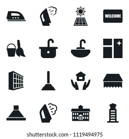 Set of simple vector isolated icons plunger vector, broom and bucket, sponge, window cleaning, welcome mat, steaming, house hold, sink, office building, university, iron, hood, sun panel, lighthouse