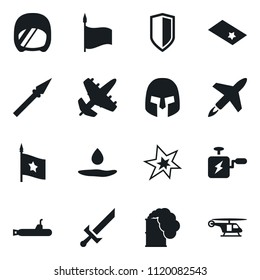 Set of simple vector isolated icons bang vector, machine, toxic weapon, rome helmet, shield, sword, spear, pool of blood, chevron, flag, army, cruise missile, plane, submarine, helicopter