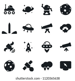Set of simple vector isolated icons telescope vector, rocket, satellite, moon, space rover, ufo, saturn, robot, cloud technologies, monitor