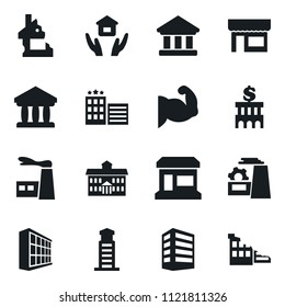 Set of simple vector isolated icons house hold vector, office building, factory, store, university, bank, muscule hand, hotel, lighthouse, ruin