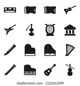 Set of simple vector isolated icons piano vector, guitar, bank, harp, flute, accordion, viola